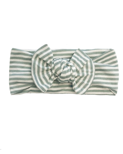 SAGE GREEN + WHITE STRIPE BOW