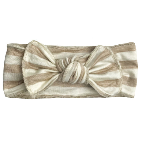TAN + WHITE STRIPE BOW