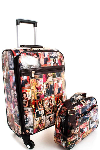 Michelle Obama Magazine Print 2 Piece Travel Luggage Set
