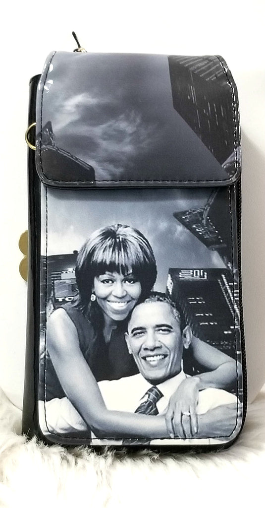 Michelle Obama Magazine Style Cell Phone Wallet Combo