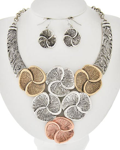 TRI-TONE BURNISHED FLOWER STATEMENT NECKLACE SET