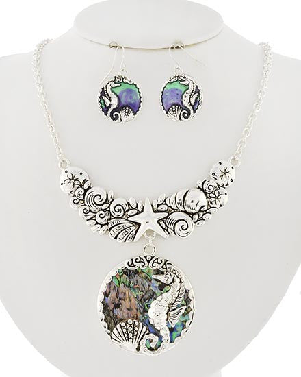 MULTI COLOR/SILVER TONE ABALONE SHELL SEA LIFE NECKLACE SET