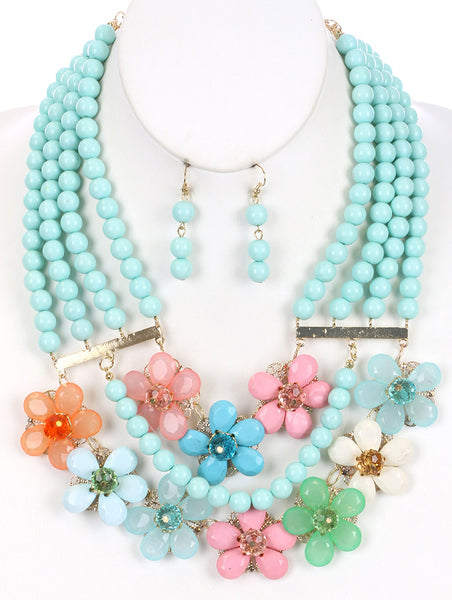 MULTI LAYER BEAD LUCITE FLOWER BIB NECKLACE SET