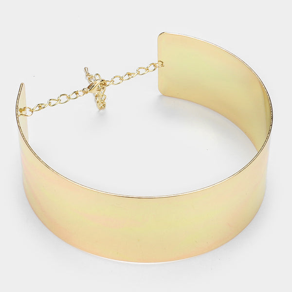 Gold Tone Metal Choker Necklace