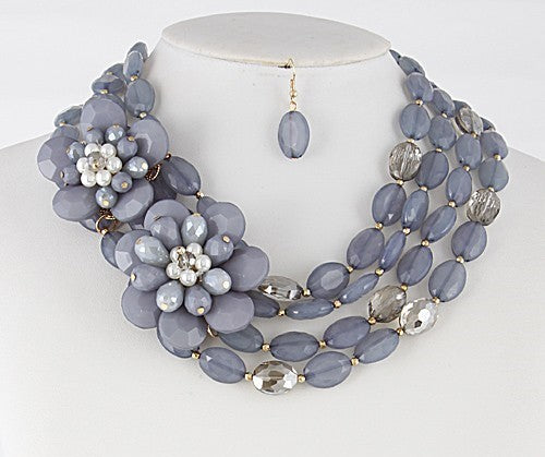 Gray Flower/Bead Necklace Set