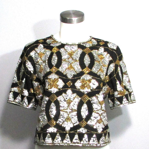 Adrienne Vittadini Vintage Black Gold and Silver Beaded Shimmery Sequin Top