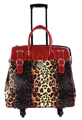 WEEKENDER ROLLING COMPUTER TOTE BAG-RED/LEOPARD