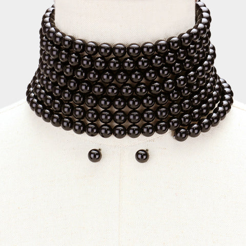 WIDE PEARL COIL CHOKER NECKLACE SET-BLACK