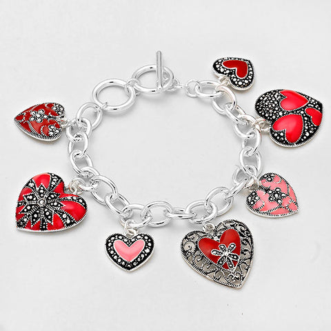 SILVER-RED TOGGLE HEART BRACELET