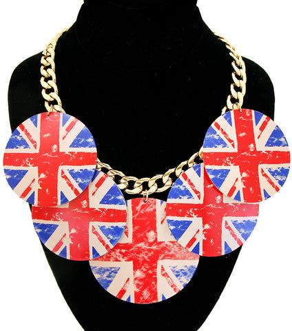 Printed England Flag Circle Dangle Gold Necklace