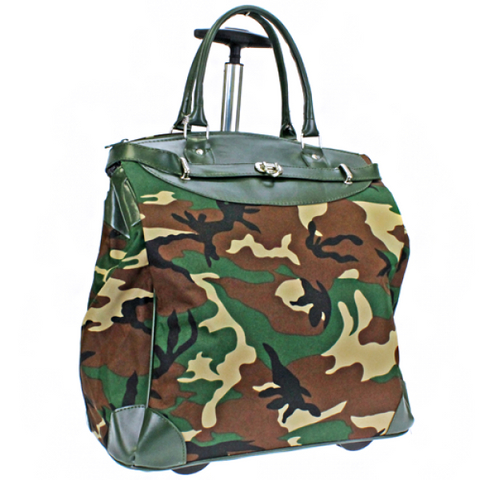 ROLLING LUGGAGE/COMPUTER TOTE-CAMOUFLAGE (CAMO) GREEN