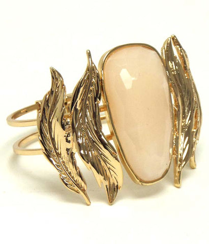 Metal Leaf Hinge Bangle Bracelet