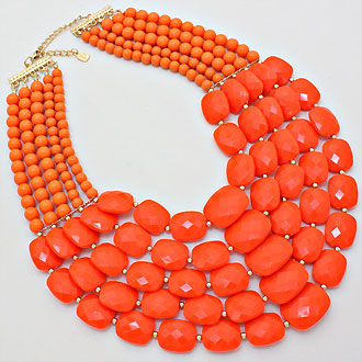 ORANGE MULTI-STRAND PEBBLE BIB NECKLACE SET