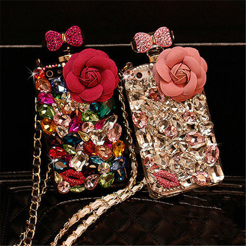 For Samsung Note 3 4 5 8 S5 S6 S7 edge S8 S9 Plus Luxury Diamond Crystal Rhinestone Flower Perfume Bottle Soft Phone Case Cover