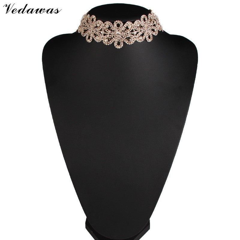 Rhinestone Choker Statement Necklace
