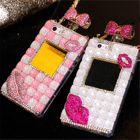 For Samsung note 3 4 5 8 S5 S6 S7 edge S8 S9 Plus Crystal Diamond Sexy lips Rhinestone Perfume Bottle Phone Case soft Back Cover