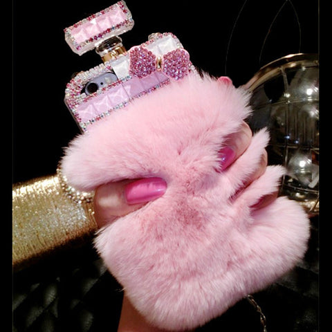 Furry Pompom Rhinestone Perfume Bottle Phone Case for iPhone 6 6s 7 8 plus X for Samsung galaxy s6 s7 edge s8 s9 plus note 4 5 8