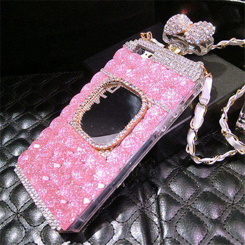 For iPhone X 5S SE 5 6 7 8 6plus 7/8plus  Diamond Rhinestone Mirror Perfume Bottle Soft Phone Case Back Cover