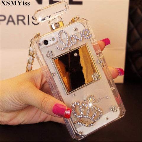 Luxury Bling Crystal Diamond Chain Handbag Perfume Bottle Lanyard Case For IPhone 5 5S SE 6 6S 6 Plus 6Plus 7 8Plus Phone Cases
