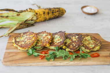 Lupin, Corn and Zucchini Fritters