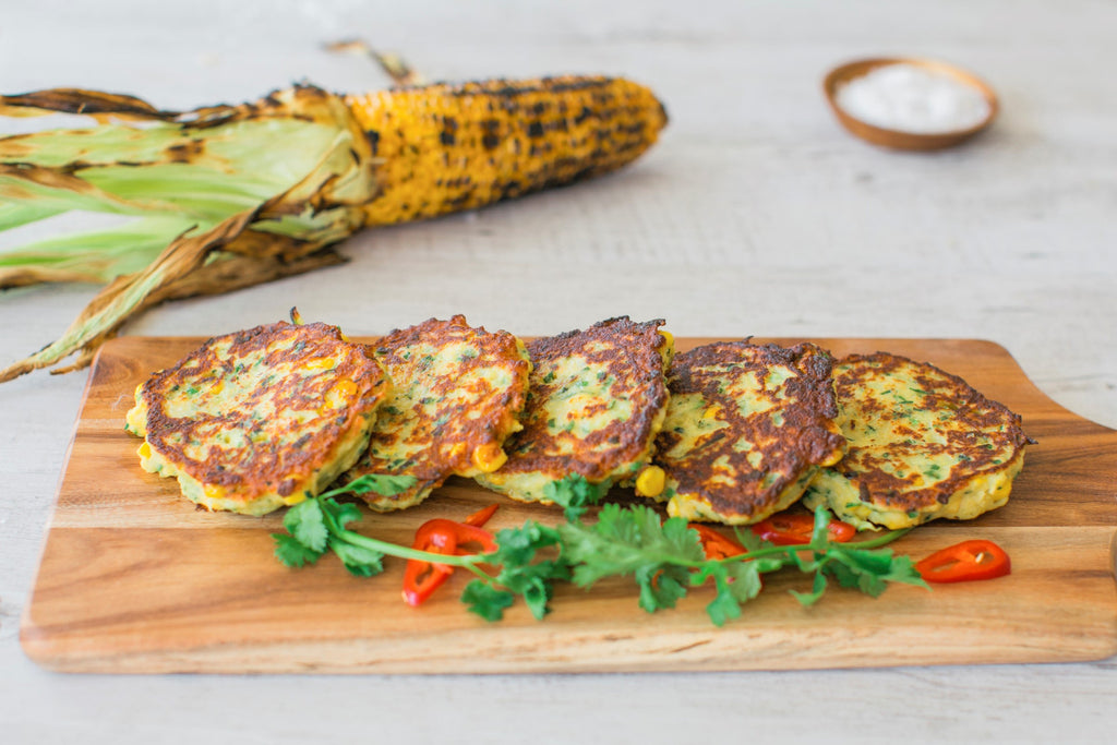 Lupin Corn and Zucchini Fritters