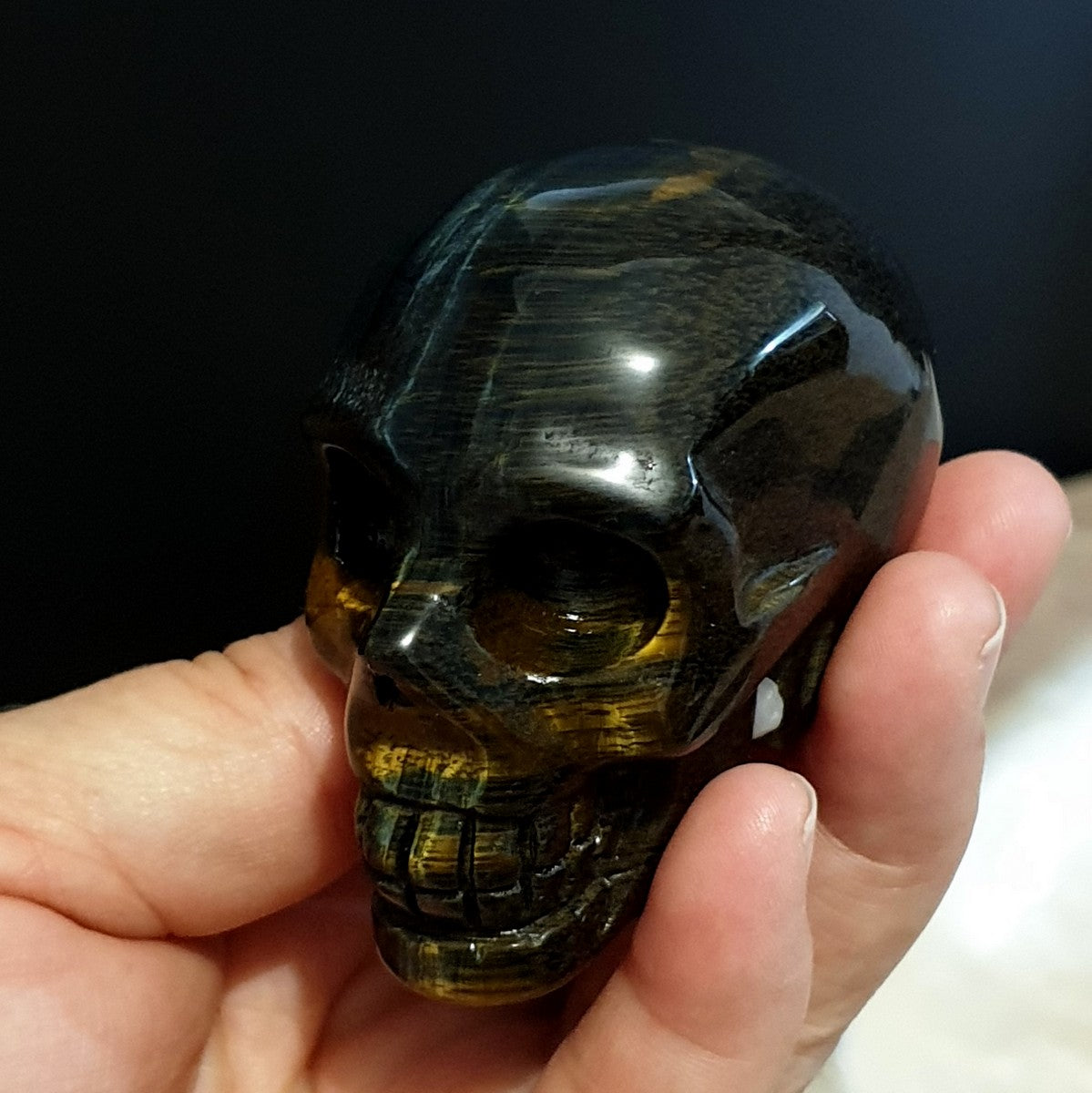 Blue Tiger Eye Skull - Shop with Afterpay at Illiom Crystals