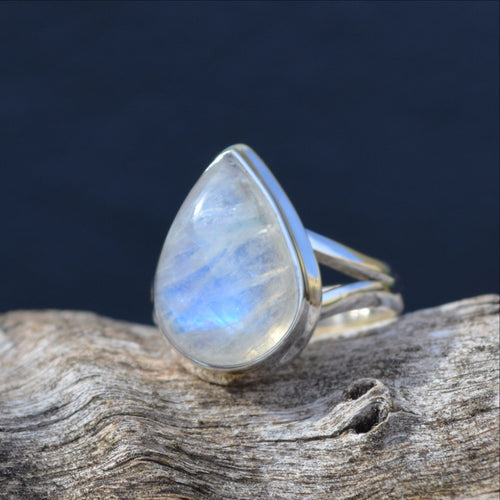 Blue Fire Moonstone 925 Sterling Silver Ring (SHU32-188)