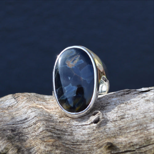 Pietersite Dark Blue Namibia 925 Sterling Silver Ring (SHU8-87)