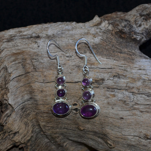 Amethyst 925 Silver Triple Drop Earrings (SI1-21)