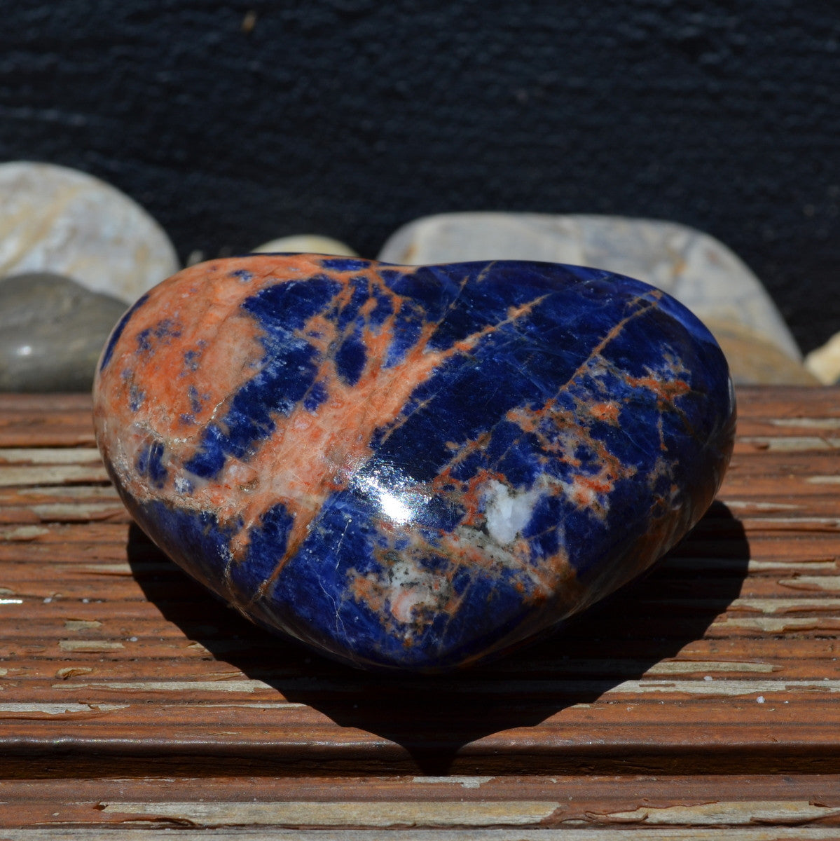 African Deep Blue Sodalite Large Gemstone Heart