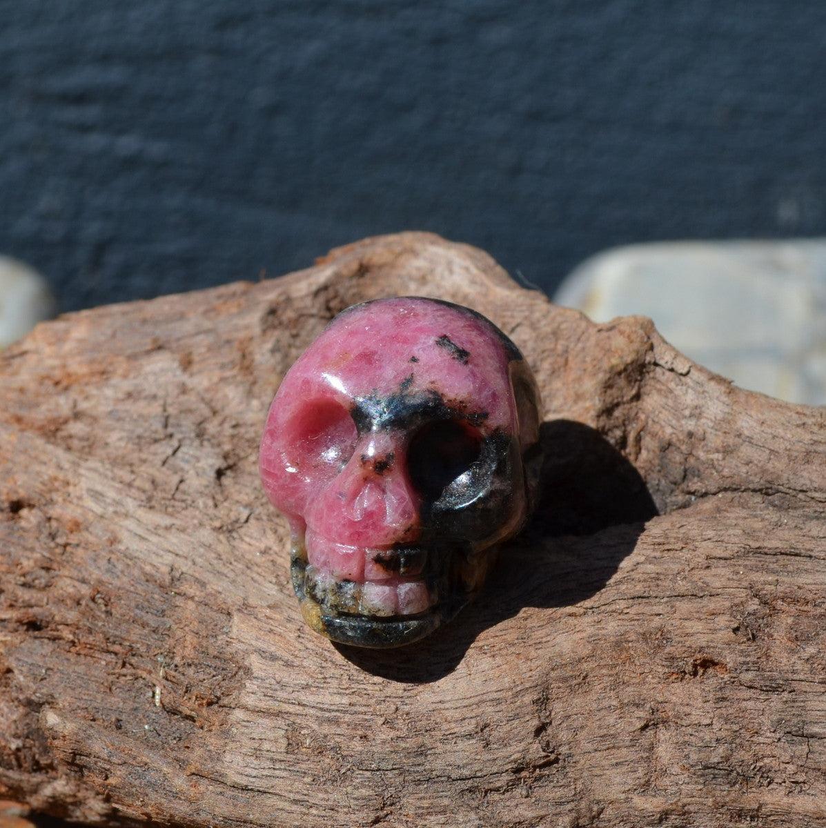 Rhodonite Carved Gemstone Skull Madagascar