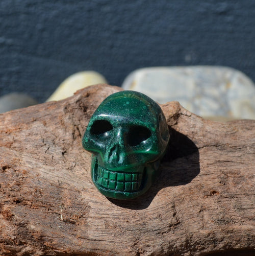 Malachite Gemstone Skull (CU7-3523-7)