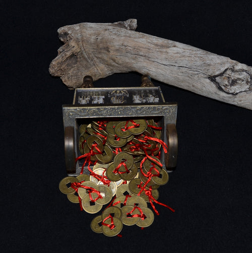 Feng Shui Money Coins Set of 3 Tied with Red Cord EACH (NSO-9779-3)