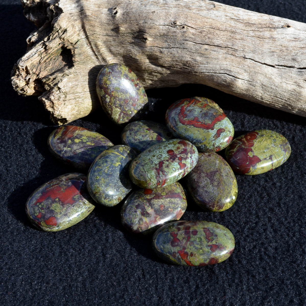 Dragonsblood Jasper Palmstone - Nurturing Strength Wisdom Positive - Shop Now at Illiom Crystals - Afterpay Now Available