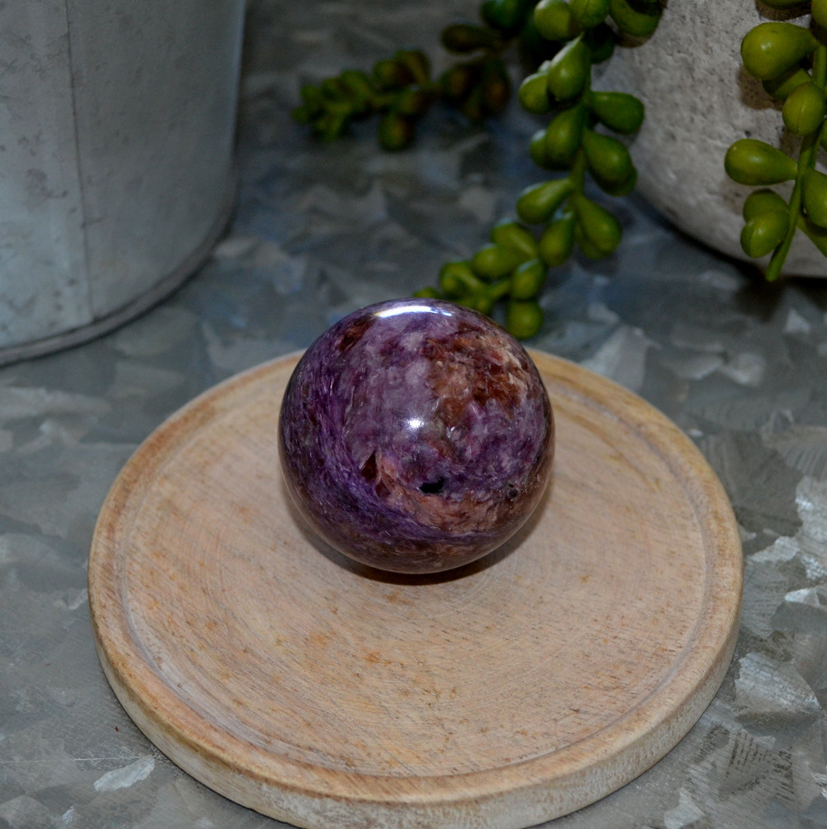 Stunning Charoite Sphere Russia - Shop Now at Illiom Crystals - Afterpay Available