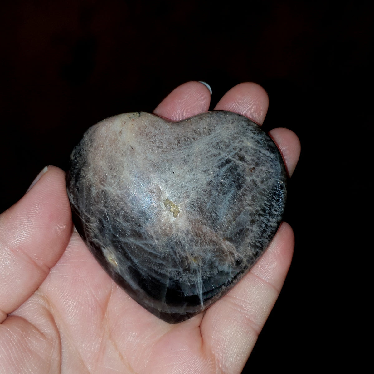 Black Moonstone Heart - Shop Now at Illiom Crystals - Afterpay Available