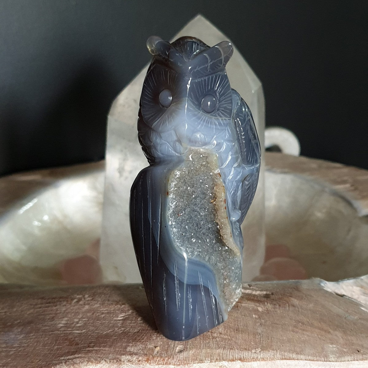 Agate Druzy Owl Carving - Illiom Crystals - Afterpay available