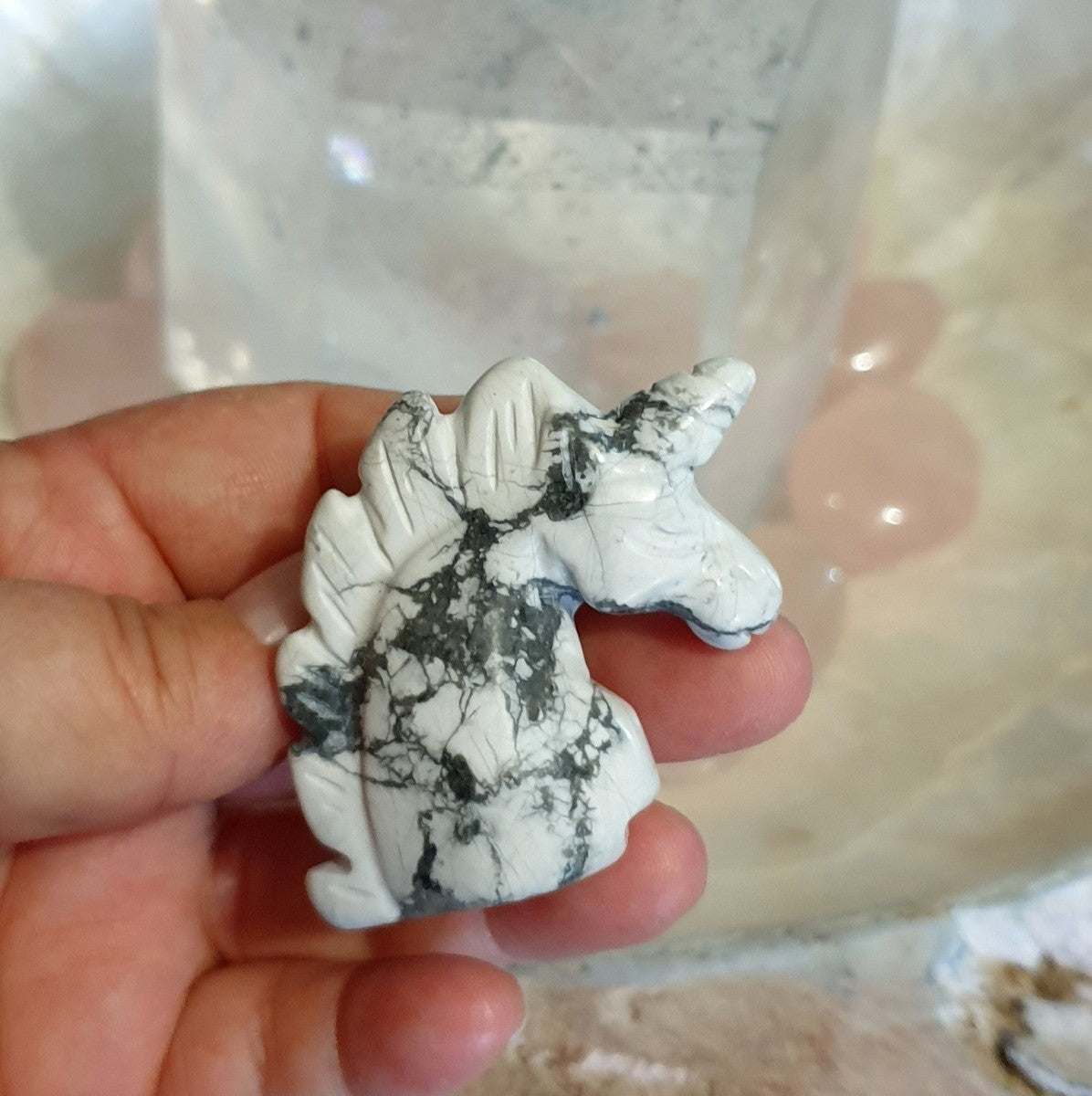 Unicorn Carving Howlite - Shop Now at Illiom Crystals - Afterpay Available