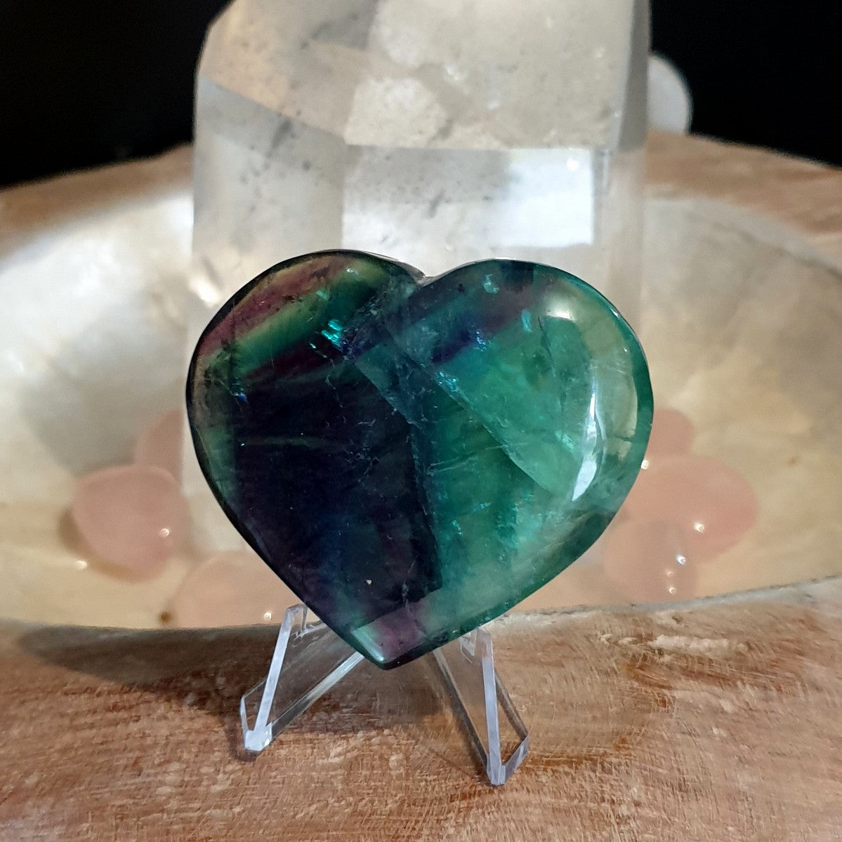 Rainbow Fluorite Heart with Rainbows (IY1-6-1)