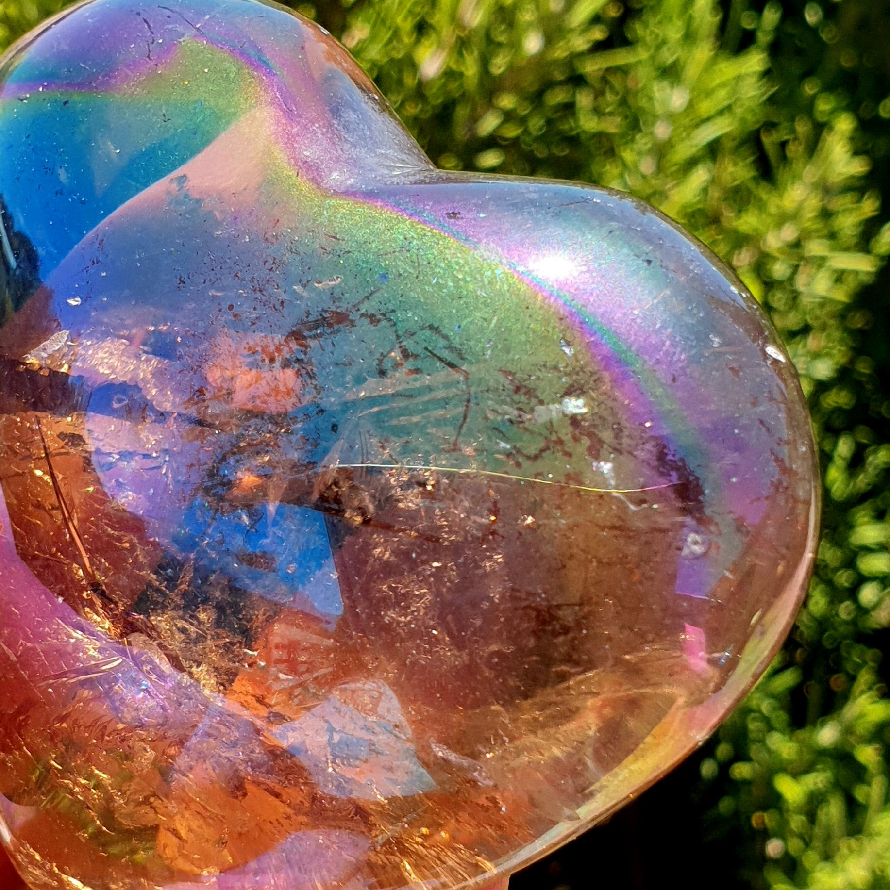 Rainbow Aura Smoky Quartz Large Heart - Illiom Crystals - Afterpay Available
