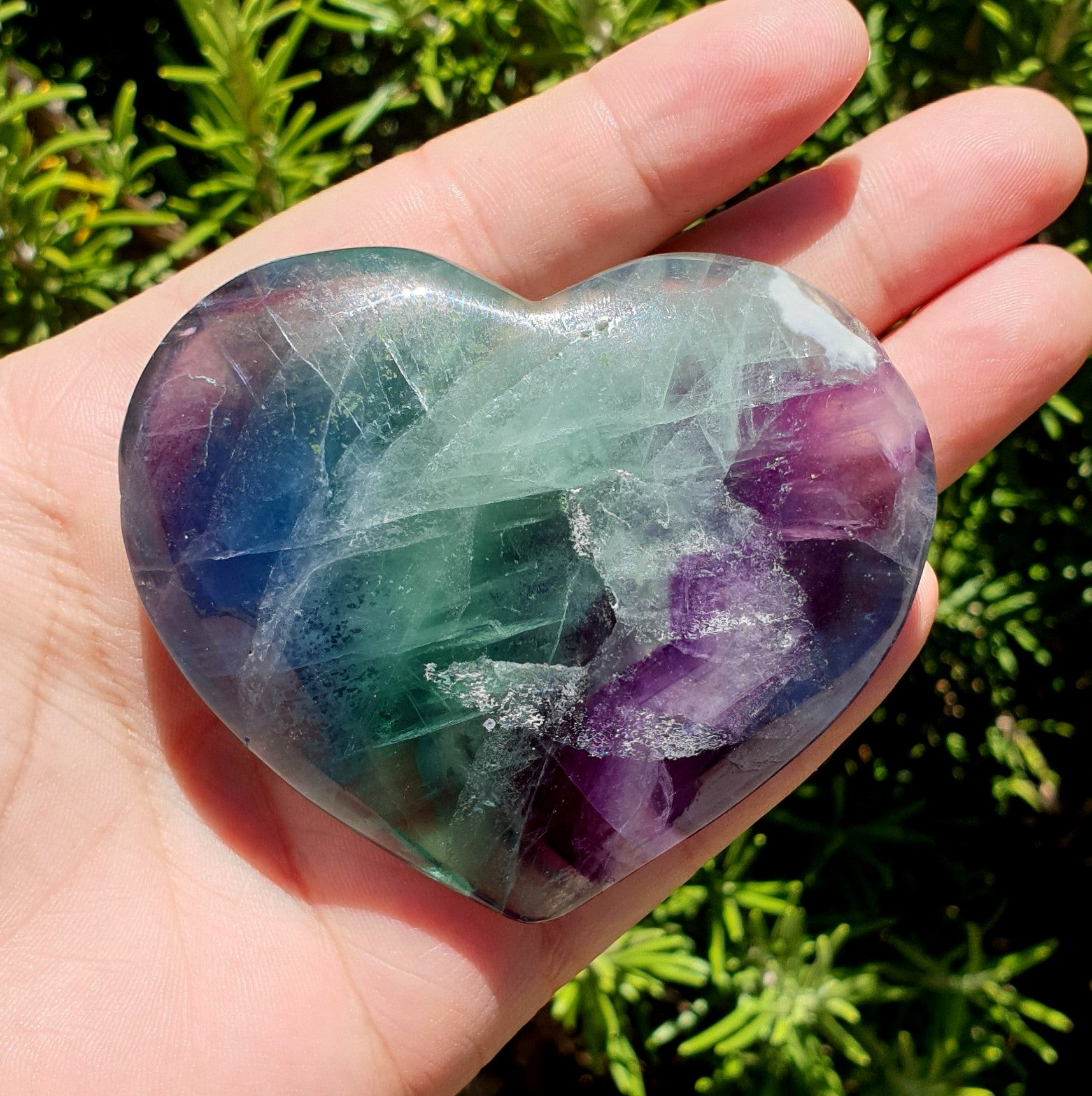 Rainbow Fluorite Heart - Illiom Crystals - Afterpay Available