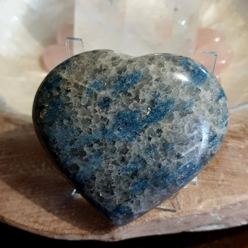 Lazulite in Quartzite Large Puffy Heart (IY2-8-1A)