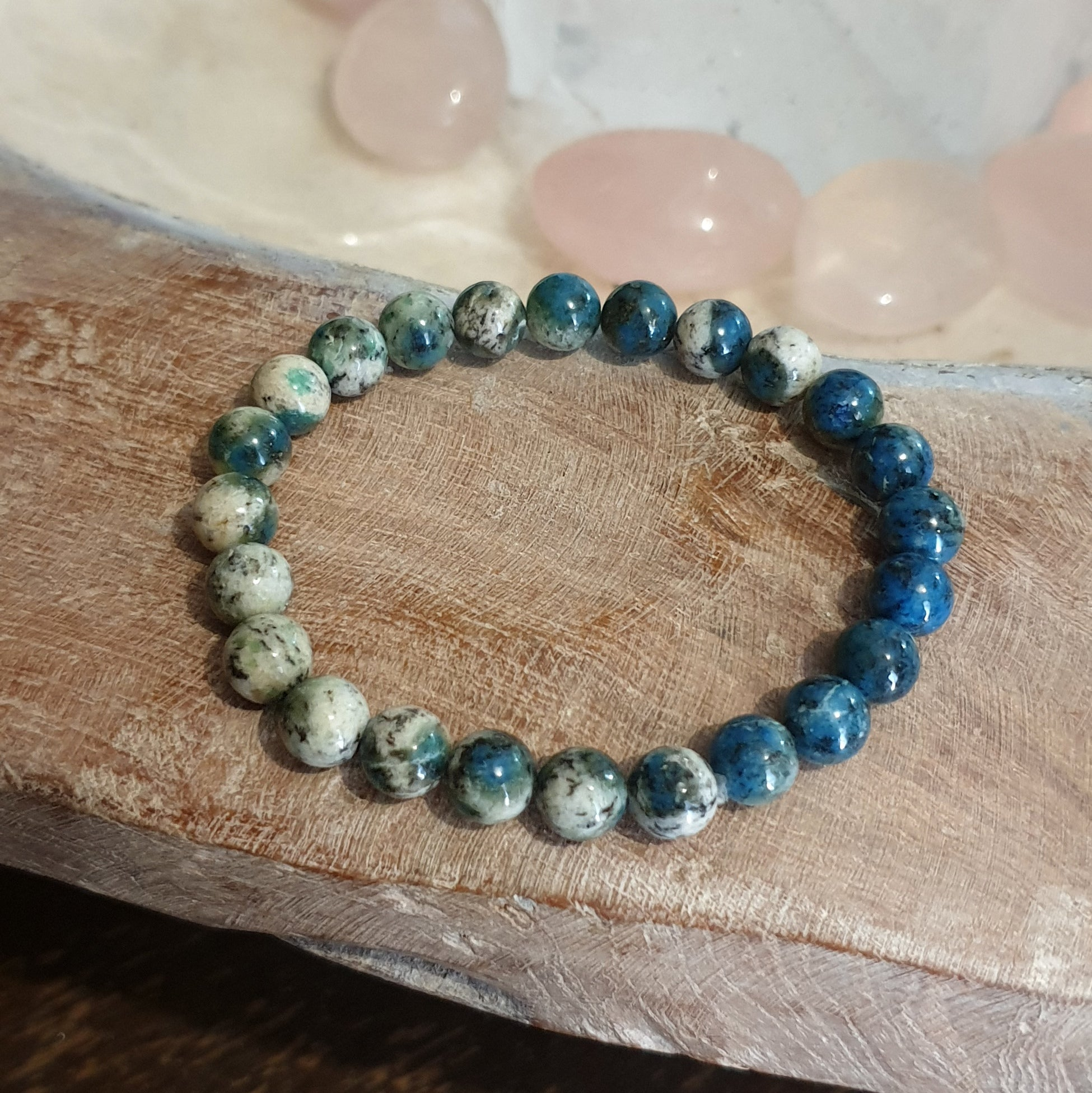 K2 Afghanite Polished Beaded Stretch Bracelet - Illiom Crystals - Afterpay Available