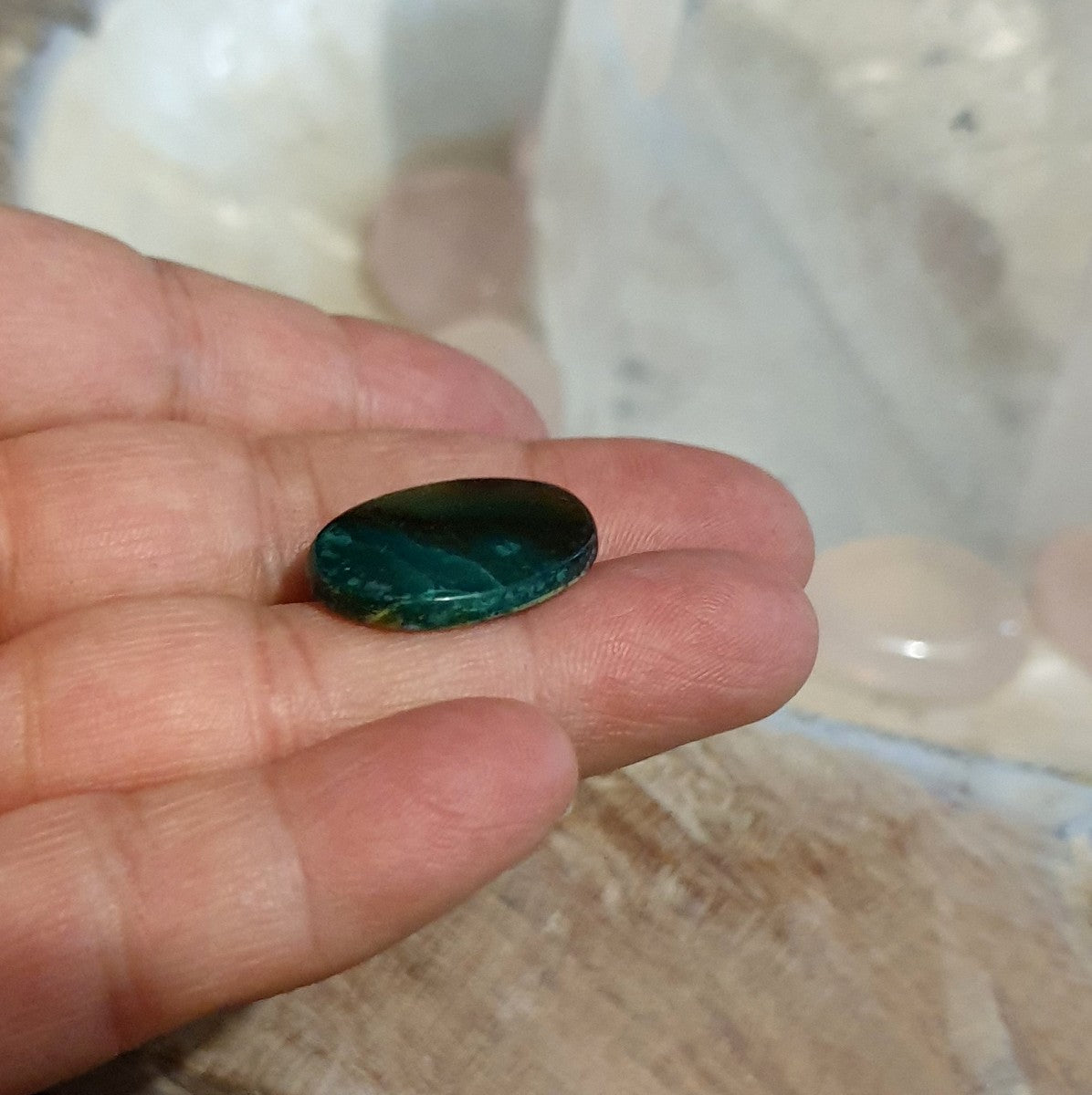 Blue Opalised Petrified Wood Cabachon Indonesia - Illiom Crystals - Afterpay Available