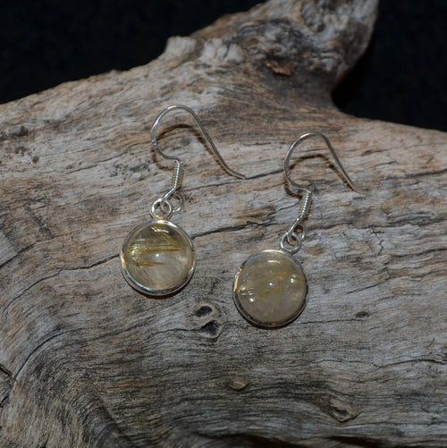 Golden Rutile Silver Earrings (SHU1-27-005)