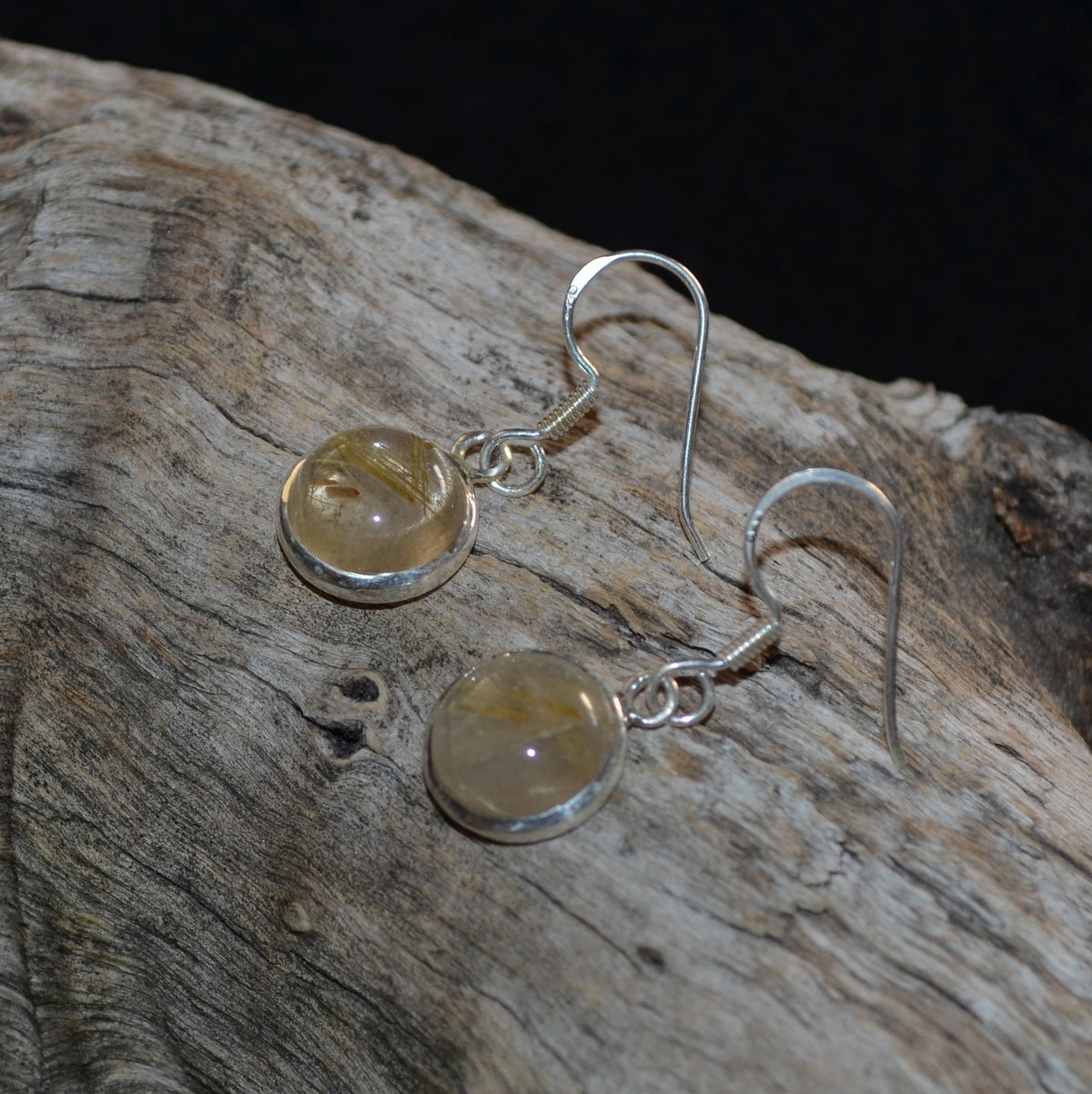Golden Rutile Silver Earrings - Focus Manifestation Tuning - Available Now at Illiom Crystals - Afterpay Available