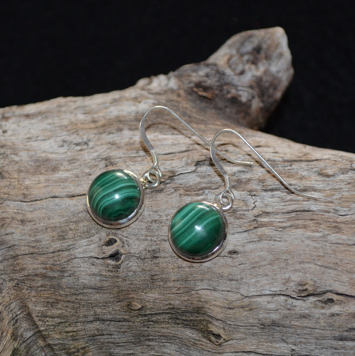 Malachite Silver Earrings - Protective Truth Heart Healing - Shop Now at Illiom Crystals - Now with Afterpay