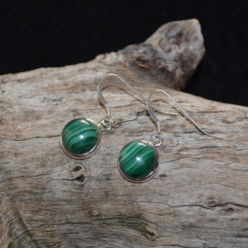 Malachite Silver Earrings (SHU1-35-037)