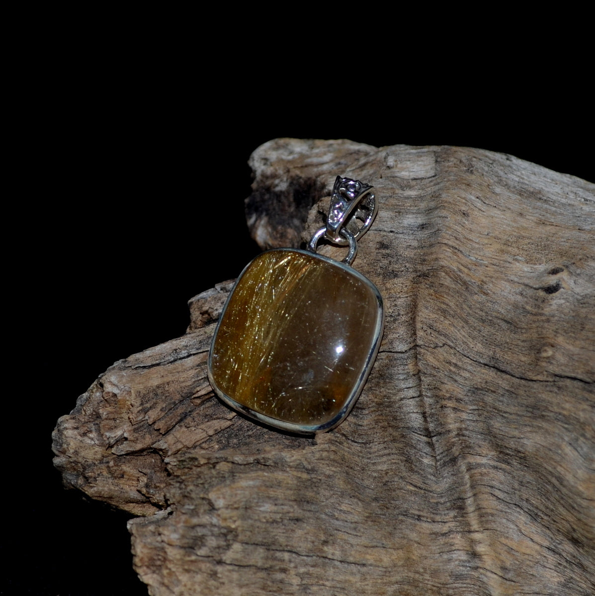 Golden Rutile Rutilated Quartz 925 Sterling Silver Pendant at Illiom Crystals - Afterpay Available