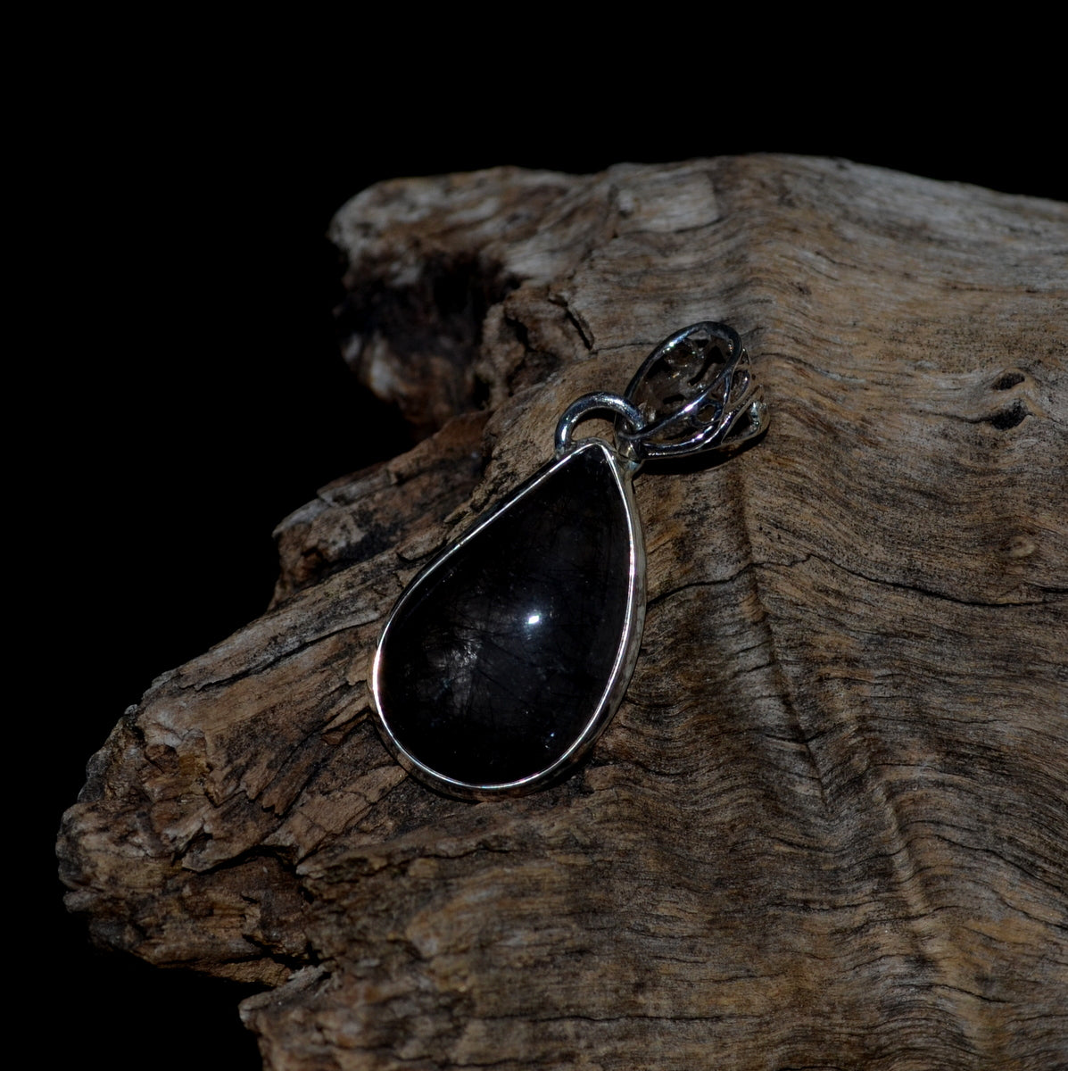 Tourmalinated Quartz 925 Silver Teardrop Pendant at Illiom Crystals - Afterpay Available